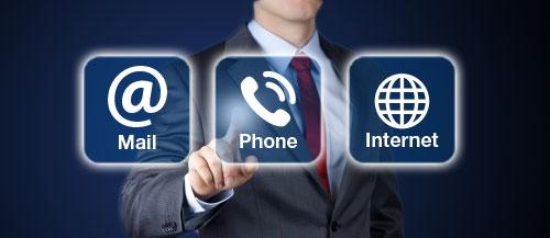 Señalando distintos tipos de ponerse en contacto